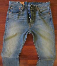 Levi's 501 Stretch Straight Leg Jeans Mens Size 38 X 32 Vintage Distressed Wash