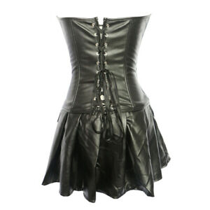 Gothic Leather Corset Dress Overbust Lingerie Lace Up Bustier Zipper Steampunk