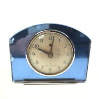 Seth Thomas Alarm Clock Blue Mirror Fancy Face Circa 1940 Art Deco