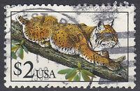 USA Briefmarke gestempelt 2 Dollar Tiger Tier Rundstempel / 2542