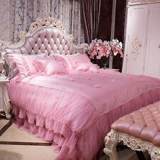 6pc. Korean Royal Luxury Lace Queen Cotton Princess Duvet Cover Bedding Set