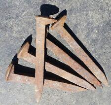 5-Vintage-Railroad-Spikes-Antique-Blacksmith-Train Track Nails lot of 5
