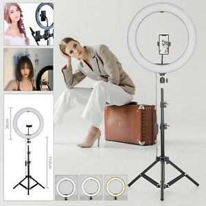 "14"" LED Ring Light Dimmable Lighting Kit Phone Selfie Tripod Makeup Live Lamp UK"