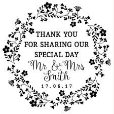 Personalised Laser Rubber Stamp - Wedding Thank You: Flower Wreath