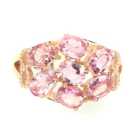 Unheated Oval Cut 5x4mm Top Rich Pink Tourmaline 925 Sterling Silver Ring Size 7