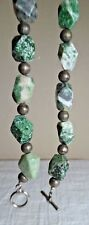 Metal Bead Strand Toggle Necklace 105 G Green & White Faceted Stone & Silvertone