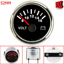 2'' 52mm Pointer Voltage Gauge Black With Red Backlight For Car Auto Boat 8-16V