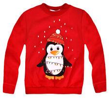 Kids Christmas Jumper Boys Girls Xmas Santa Penguin Sweatshirt Ages 3-13 Yrs