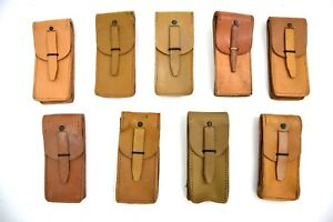 3 x French Army Leather Pouches Ammo Pouch Original Tan Leather M49 1960's MAB