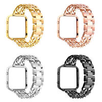 Replacement Stainless Steel Chain Link Bands with Metal Frame for Fitbit Blaze