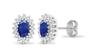 9CT WHITE GOLD NATURAL DIAMOND AND SAPPHIRE CLUSTER STUD EARRINGS - UK JEWELLERS