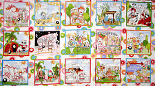 """Loralie Vintage Holiday Camper Camping RV Scenes Cotton Fabric 24""""X44"""" Panel"""