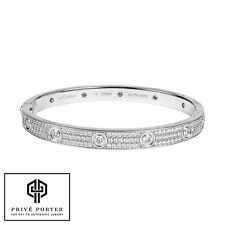 CARTIER 18K WHITE GOLD DIAMOND PAVED PAVE LOVE BRACELET 18CM N6033603 $58,000