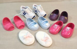 """6 Pairs Battat Shoes Fit American Girl & Other18"""" Dolls Sneakers Slippers Loafer"""