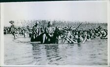 Naked Japanese soldiers cross the river in Northern China. - 8x10 photo