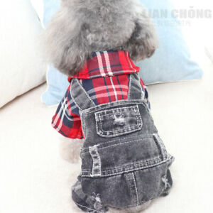 Pet Jeans Dog Jumpsuit Clothes Dog Overalls Small Medium Dogs Apparel 2 COLOR