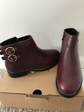 Zara Baby Girl Leather Ankle Boots With Buckles Burgundy Size 11.5 NWT