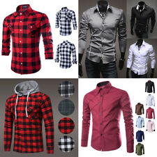 Men's Long Sleeve Casual Smart Cotton Work Flannel Plaid Dress Shirt Top Hoodie