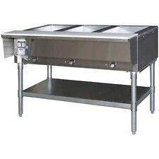 EAGLE GROUP STAINLESS STEEL ELECTRIC 3 WELL OPEN BASE HOT FOOD TABLE - DHT3-120