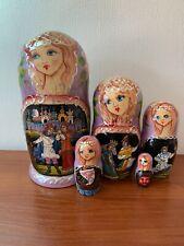 "Nesting Doll Matryoshka 7"" 5Pc Russian Cartoon Prince Princes HandPainted Wooden"