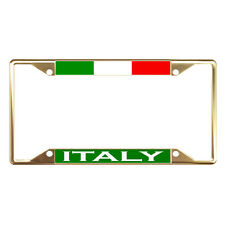 Italy Flag Country Gold License Plate Frame Tag Holder Four Holes