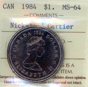 1984 Canada Jacques Cartier One Dollar Coin. UNC $1 ICCS MS-64