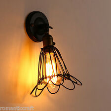 Black Industrial Retro Vintage Wustic Warehouse Sconce Cafe Wire Cage Wall Light
