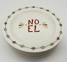 """Noel and Holly Jolly Holidays 4 piece 6"""" plate set Christma Creative Co-op"""