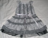 Girls' Size 3T Isobella & Chloe Gray Spring Party Dress, White Lace Overlay