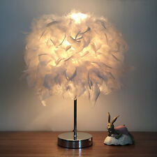 Feather Shade Table Lamp Metal Vintage Elegant Bedside White Night Light Decor