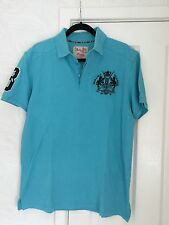 BLUE INC. BLUE PIQUE POLO SHIRT WITH TRACK & FIELD CREST – XL
