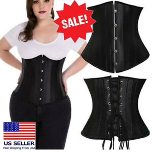 Costume Bustiers Satin Solid Black Underbust Corset Lace Up Body Shaper 5XL USA