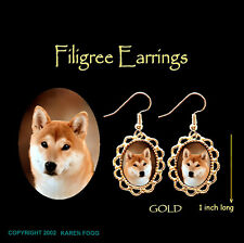 SHIBA INU DOG - GOLD FILIGREE EARRINGS Jewelry