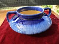 Melrose Ware Australia Large Art Deco Squat Pottery Vase Drip Glaze Cobalt Blue