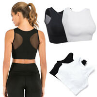 US Womens Sports Bra Crop Top Gym Activewear Yoga Non-Wired Seamless Crop Vest