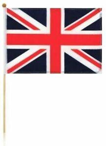 "Large Union Jack Hand Waving Flag on a Stick Party Souvenir Gift 18"" x 12"" Pole"