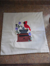 """Cardinal & Coffee Mill - Machine Embroidered Pillow Cover - 16"""" Square - New"""