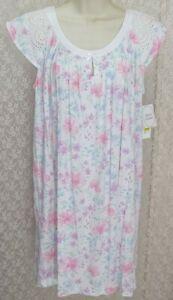 Miss Elaine petite Large PL Cotton knit Nightgown Gown cap sleeve Multi Floral