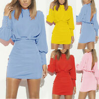 Sexy Women ONeck Long Puff Sleeve Office Bodycon Party Backless Tunic Mini Dress
