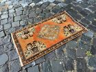 Vintage doormats, Turkish small rug, Hand-knotted wool rug,Carpet | 1,5 x 2,6 ft