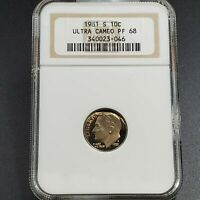 1981 S Roosevelt Dime Proof Coin NGC PF68 UCAM ULTRA Cameo Type 1 Variety