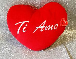 SAN VALENTINO AMORE CUORE IN PELUCHE TI AMO PLUSH HEART 35 CM