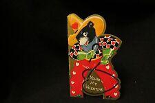 Vintage Cowboy, Lasso & Bear Valentine Card c. 1940s