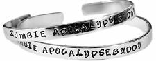 "Zombie Apocalypse Buddy - SET- Hand Stamped 1/4"" Aluminum Cuff Bracelets"