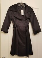 NWT BEBE WOMEN'S TRENCH COAT BLACK BELTED JACKET WITH BUTTONS SIZE SMALL