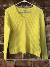 St Johns Bay Womens Sweater Yellow Classic Cable Vneck Long Sl Pullover Sz Large