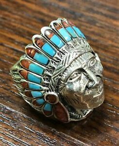 MENS HEAVY NATIVE AMERICAN INDIAN CHIEF BIKER TURQUOISE STERLING SILVER 925 RING