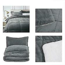 AmazonBasics QUEEN Micromink Sherpa Comforter and Pillow Shams - Charcoal