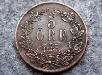 SWEDEN OSCAR I 1857 5 ORE