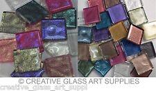 100 - 3/8 inch MIXED METALLIC AND IRIDESCENT METALLIC Glass Mosaic Tiles